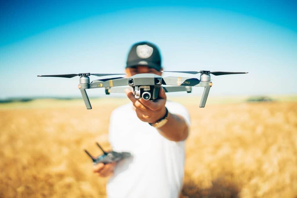 Man holding UAV or Drone